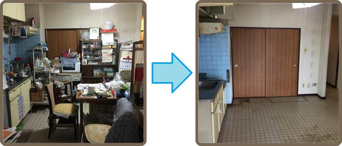 遺品整理(生前整理)、残置処分の(キッチンダイニング 8畳) 作業前→作業後