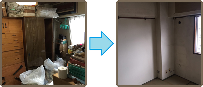目黒区の遺品整理(生前整理)、残置処分の(実例) 作業前と作業後(マンション 4F 3LDK)の写真