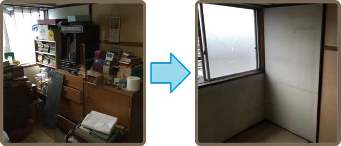 遺品整理(生前整理)、残置処分の(和室 6畳) 作業前→作業後